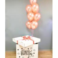 Фонтан из гелиевых шариков в коробке-сюрприз