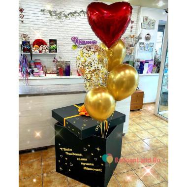 Букет из гелевых шаров мамочке с красным сердцем в коробке