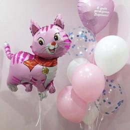 Композиция из шаров с кошечкой и именным сердцем для доченьки