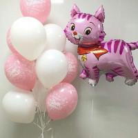 Композиция из гелевых шариков на День Рождения розовый котенок