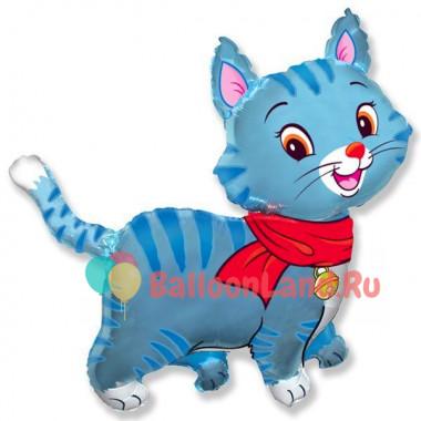 Фигурный шар Кошечка голубая с красным шарфом