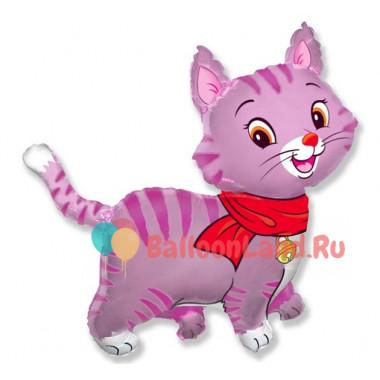 Фигурный шар Кошечка розовая с красным шарфом