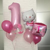Композиция шаров на 1 годик с котёнком и цифрой