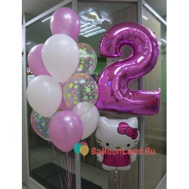 Композиция из шаров на День Рождения с Hello Kitty и цифрой