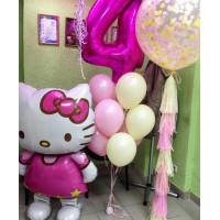 Сет воздушных шаров на День Рождения с кошечкой Китти и цифрой