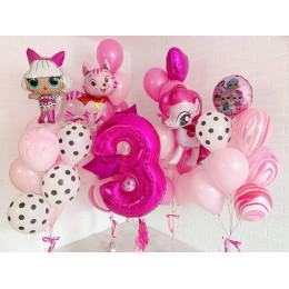 Композиция на День Рождения Пони, ЛОЛ и кошечка с цифрой