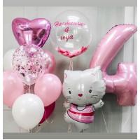 Сет шаров на День Рождения Котёнок с вашими поздравлениями и цифрой