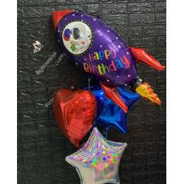 Букет гелевых шаров Ракета со звездами и сердцем