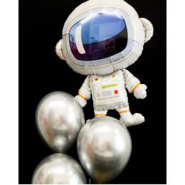 Букет из гелевых шариков хром с Космонавтом
