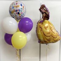 Композиция из шаров на День Рождения с мультперсонажем Белль