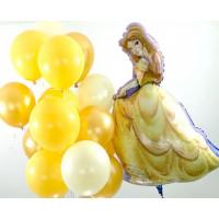 Композиция из гелевых шаров с героиней сказки Красавица и чудовище Белль