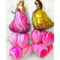 Композиция из гелевых шариков Белль и Аврора с шарами агат