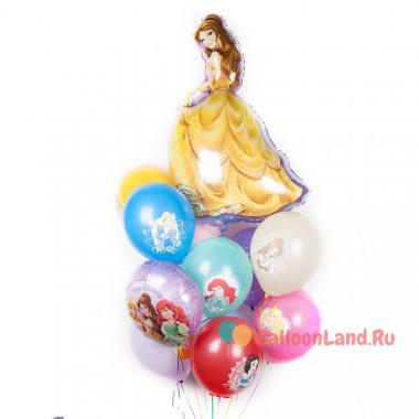 Букет шариков Белль с принцессами Дисней