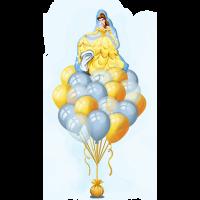 Букет из шариков с гелием с Белль героиней м/ф Дисней Красавица и Чудовище