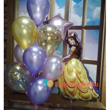 Композиция из воздушных шариков Белль со звездой и шарами с конфетти