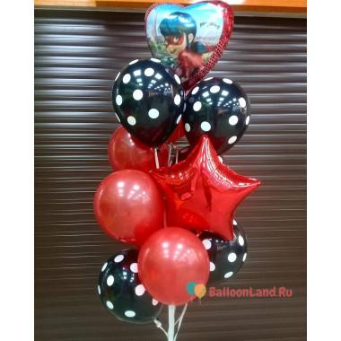 Букет из шаров Леди Баг с красной звездой