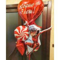 Букет шаров Леди Баг с Большим сердцем и вашими поздравлениями