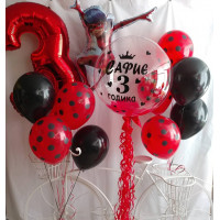 Композиция из шаров с леди Баг с цифрой и шаром с перьями