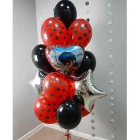 Букет шаров с гелием с сердцем с Леди Баг
