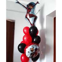 Букет из шаров с гелием с героями м/ф Леди Баг и Супер Кот