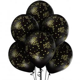 Шары Черные с рисунком золотое конфетти
