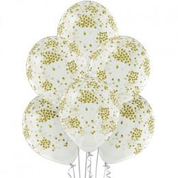 Шары Белые с рисунком золотое конфетти