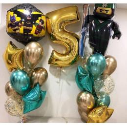 Композиция из шариков с гелием Лего Бэтмен и Лего Ниндзяго с цифрой