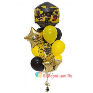 Букет шариков Лего Бэтмен со звездами и шаром конфетти в черно- желтых цветах