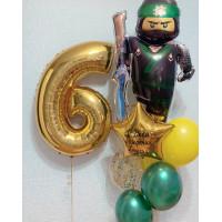 Композиция из воздушных шаров Лего Ниндзяго Лойд с цифрой и звездой с вашей надписью