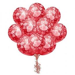Шары Красные с розовыми сердцами