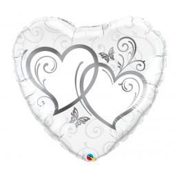 Шар-сердце Переплетенные сердца ( серебро на белом фоне )