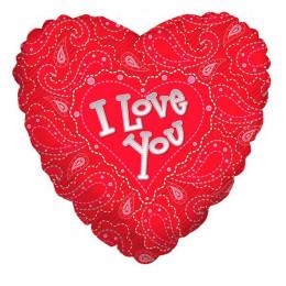 Шар-сердце I love you (с узором)