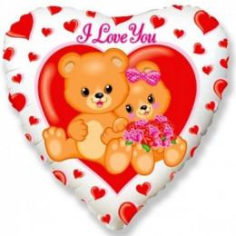 Шар-сердце I love you с мишками