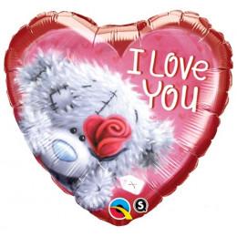 Шар-сердце i love you с мишкой Тедди