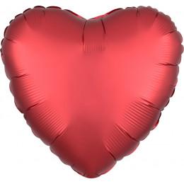 Шар-сердце Красный, сатин