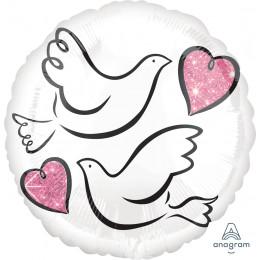 Шар-круг Свадебные голуби
