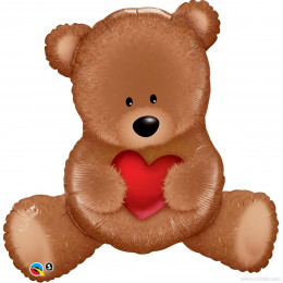 Фигурный шар Медвежонок с красным сердцем