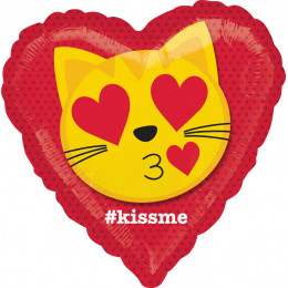 Шар-сердце Целующий кот ( kiss me )