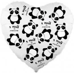 Шар-сердце Я тебя люблю (панды)