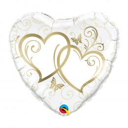 Шар-сердце Переплетенные сердца ( золото на белом фоне )