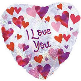 Шар-сердце I love you (с сердечками)