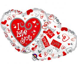 Шар-сердце I love you (белый с сердечками)