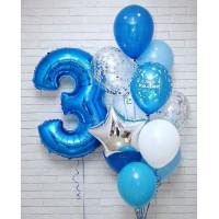 Сет шаров на День Рождения в голубых тонах с цифрой