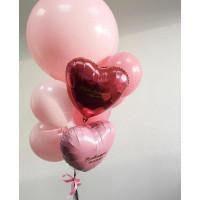 Букет шаров с вашими поздравлениями в розовых тонах