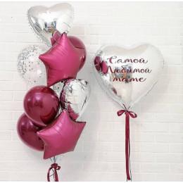 Сет шаров для мамы с сердцем с вашей надписью