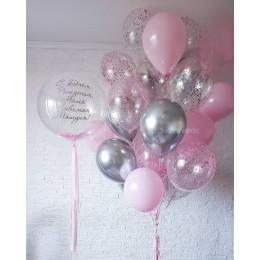 Композиция из шариков на День Рождения мамочке шар с перьями и облако шариков