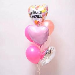 Фонтан из гелевых шариков с сердцами маме