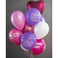 Букет гелиевых шариков для мамы на День Рождения с сердцем