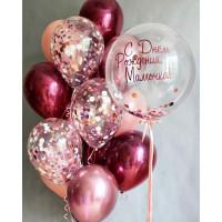 Композиция из шариков с конфетти и хром на День Рождения Маме