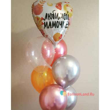 Букет из шариков Любимой Мамочке с шарами хром